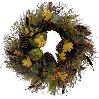 26 in. Artificial Harvest Wreath with Pinecones and Twigs