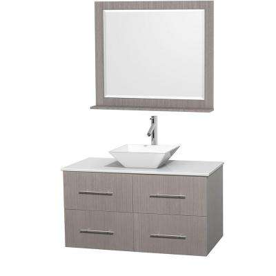 Centra 42 in. Vanity in Gray Oak with Solid-Surface Vanity Top in White, Porcelain Sink and 36 in. Mirror