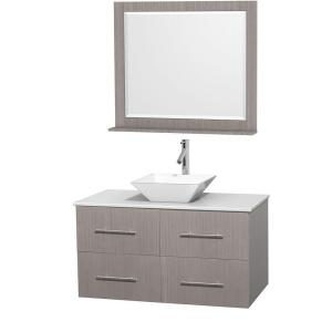 Wyndham Collection Centra 42 inch Vanity in Gray Oak with Solid-Surface Vanity Top in White, Porcelain Sink and 36 inch... by Wyndham Collection
