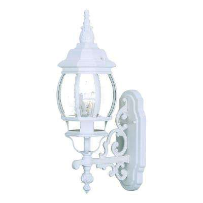 Chateau Collection 1-Light Textured White Outdoor Wall-Mount Light Fixture