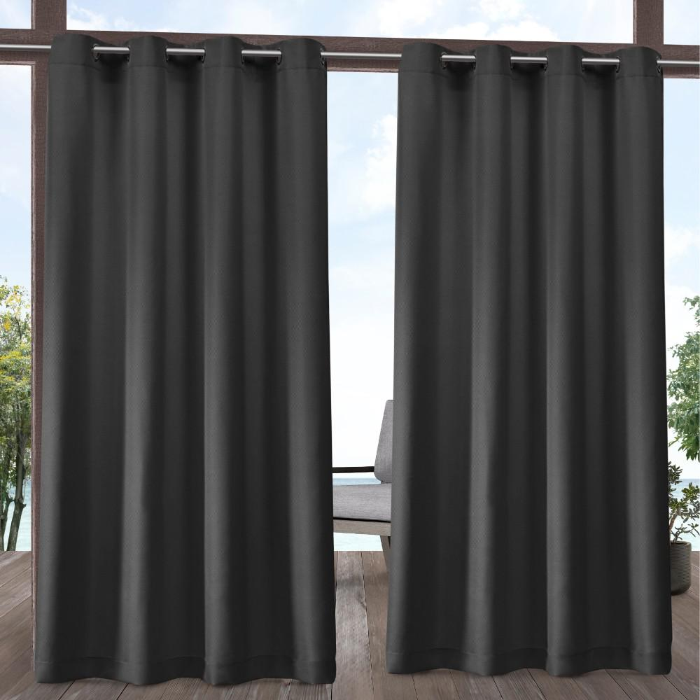 Exclusive Home Curtains Indoor Outdoor Solid 54 in. W x 96 in. L Grommet Top Curtain Panel in Charcoal (2 Panels)
