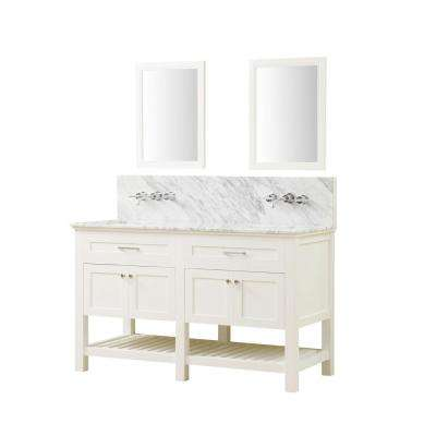 Preswick Spa Premium 60 in. W x 25 in. D Vanity with Marble Vanity Top in White Carrara with White Basin and Mirrors