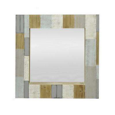 36 in. Wood Mirror in Multi-Colored