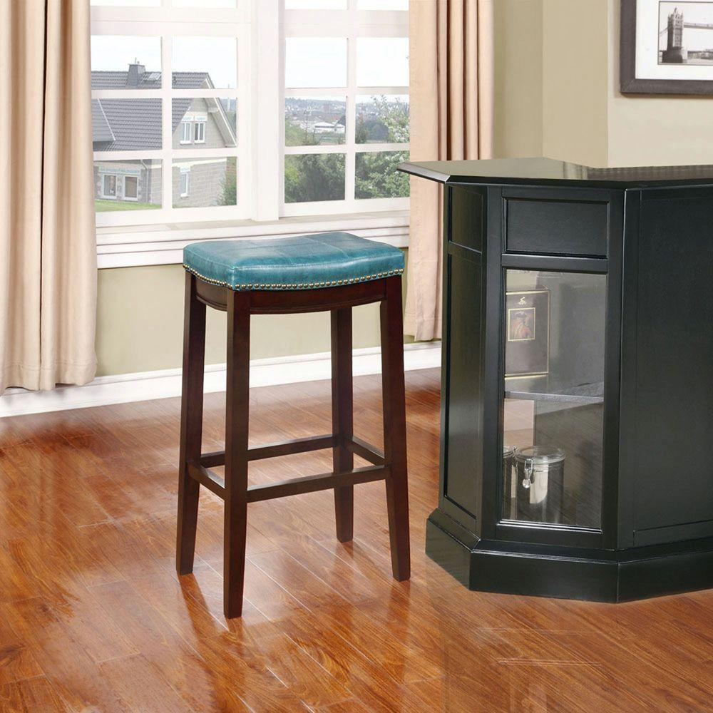 Linon Home Decor Claridge 32 in. Blue Cushioned Bar Stool 55816BLU01U