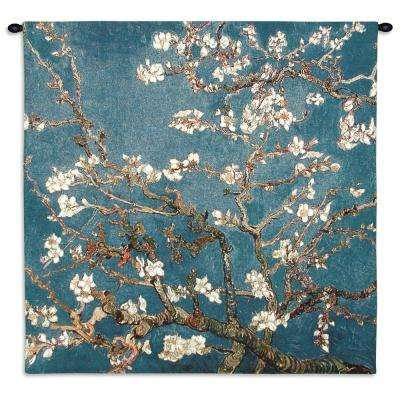 Blossoming Almond Tree Multi Colored Wall Tapestry