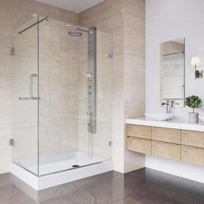 Pacifica 48.125 in. x 74.25 in. Frameless Pivot Shower Enclosure in Brushed Nickel with Clear Glass and Right Base