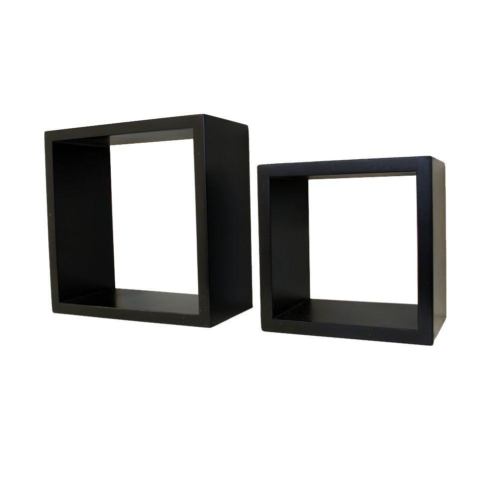 8 in. W x 8 in. H and 6 in. W x 6 in. H Black MDF Duo Floating Cube Shelf Set