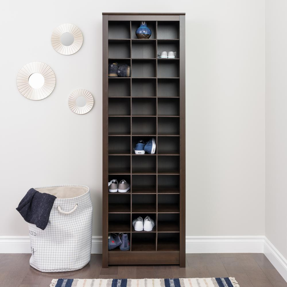 Prepac Espresso Space-Saving Shoe Storage Cabinet
