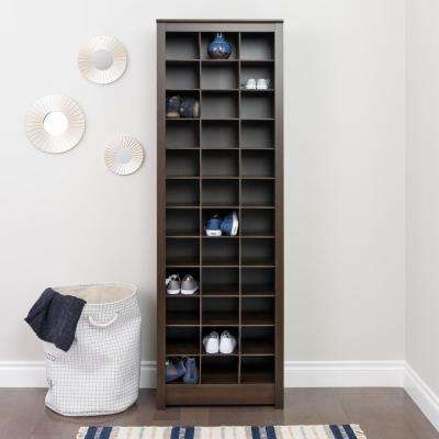 Espresso Space-Saving Shoe Storage Cabinet