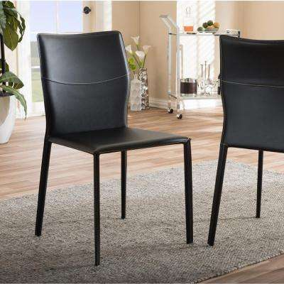 Asper Black Faux Leather Upholstered Dining Chairs (Set of 2)