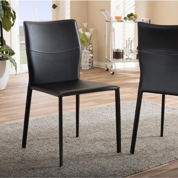 Baxton Studio Asper Black Faux Leather Upholstered Dining Chairs (Set of