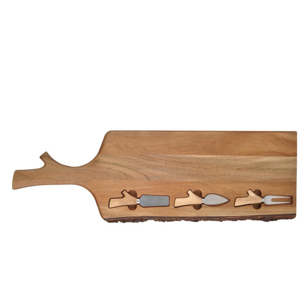 DANYA B-Acacia Wood with Bark Cheese Tray with 3-Utensils