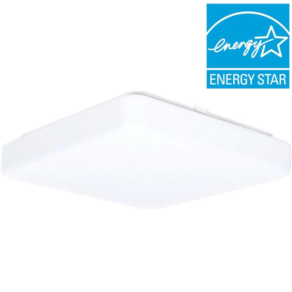 1-Light White LED Square Puff Flush Mount