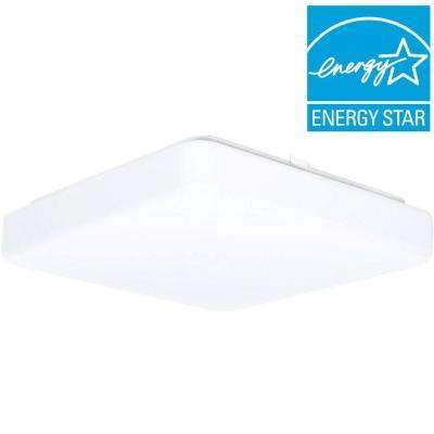 1-Light White LED Square Puff Flushmount
