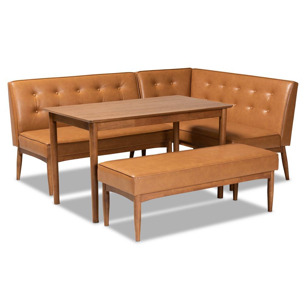 Arvid 4-Piece Tan and walnut brown Dining Nook Set