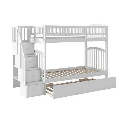 Westbrook White Twin Over Twin Staircase Bunk with Twin Size Urban Trundle Bed
