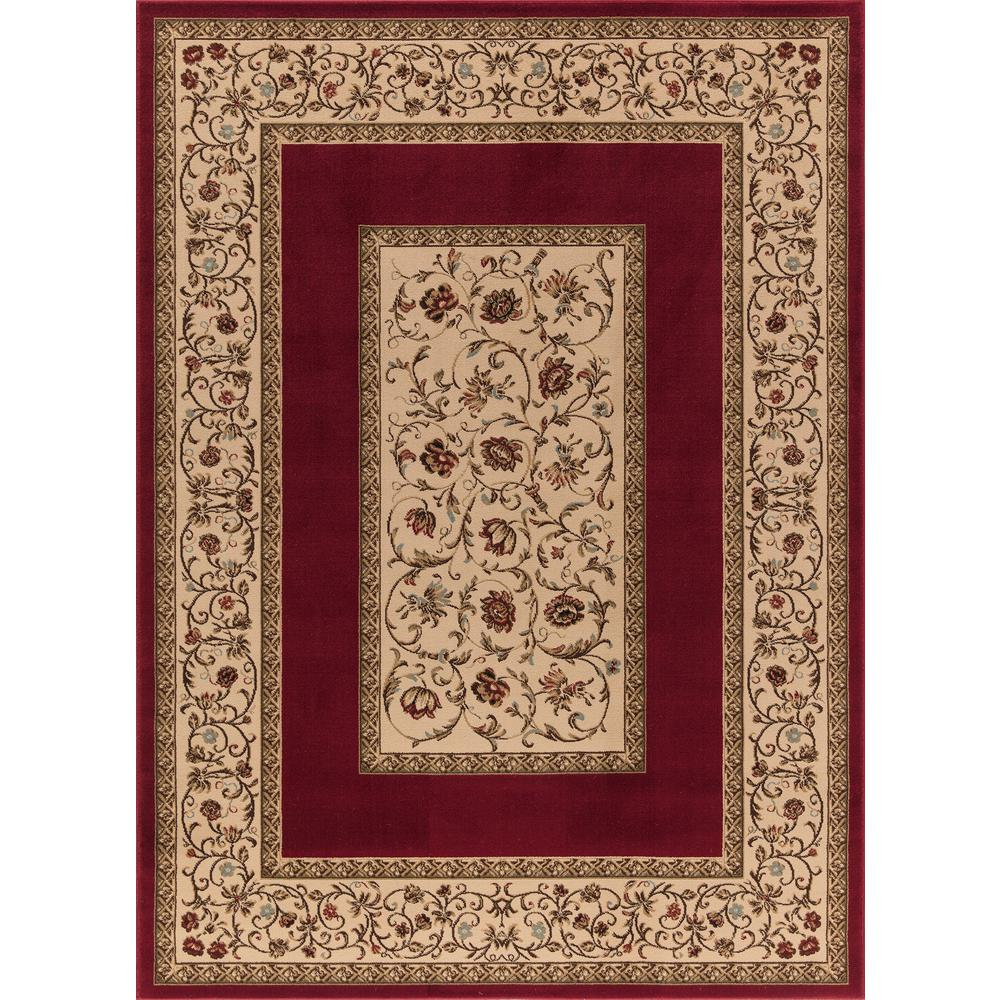 Concord Global Trading Ankara Floral Border Red 6 ft. 7 in. x 9 ft. 6 in. Area Rug