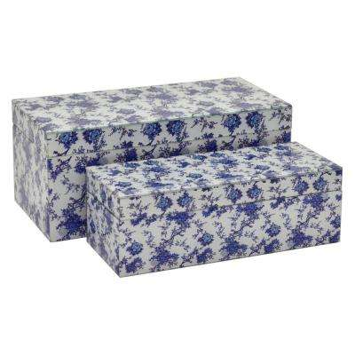 13.75 in. x 6.75 in. x 6 in. Blue and White Glass Mirrored Box (Set of 2)
