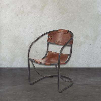 Tobacco and Black Iron Metal Arm Chair