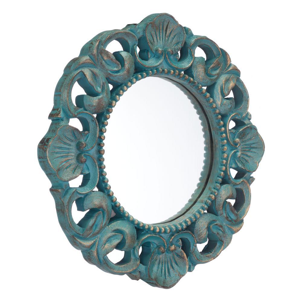 Antique Blue Wall Mirror