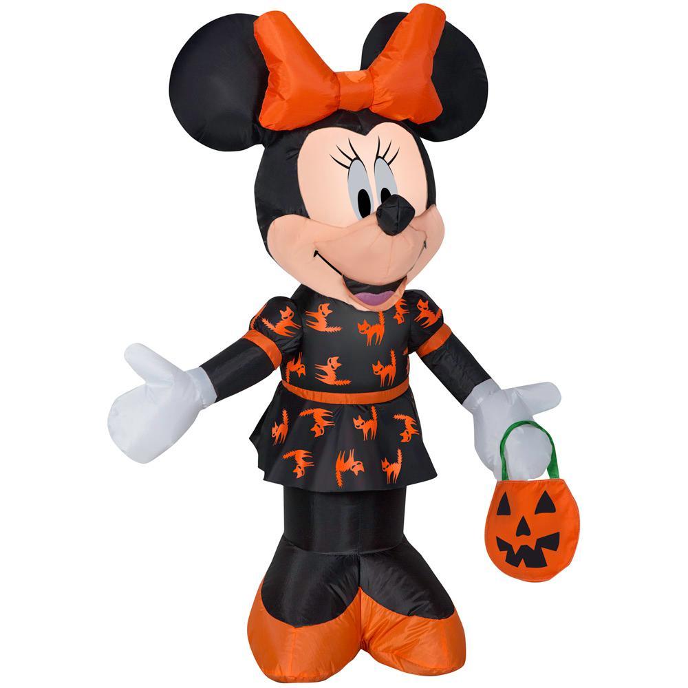 Disney 3.5 ft. Pre Lit Inflatable Minnie in Black and Orange Dress-Disney Air-Blown