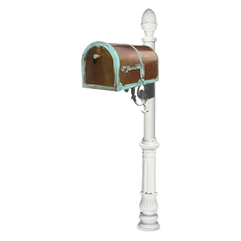 MB-3000 Antique Brass Patina Post Mount Non-Locking Mailbox with White Lewiston
