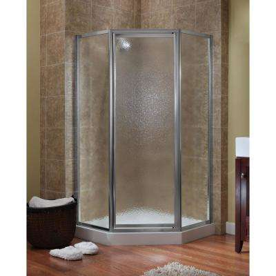Tides 18-1/2 in. x 24 in. x 18-1/2 in. x 70 in. Framed Neo-Angle Shower Door in Brushed Nickel and Obscure Glass