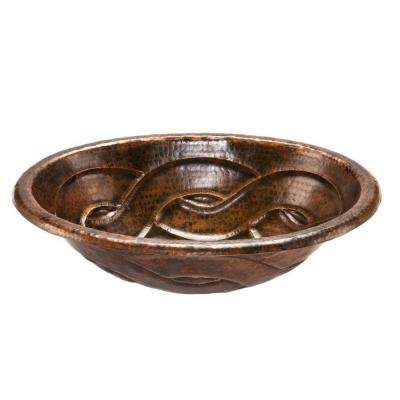 Self-Rimming Oval Braid Hammered Copper Bathroom Sink in Oil Rubbed Bronze