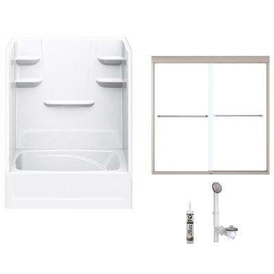 60 in. x 42 in. x 82 in. Bath and Shower Kit with Left-Hand Drain and Door in White and Brushed Nickel Hardware
