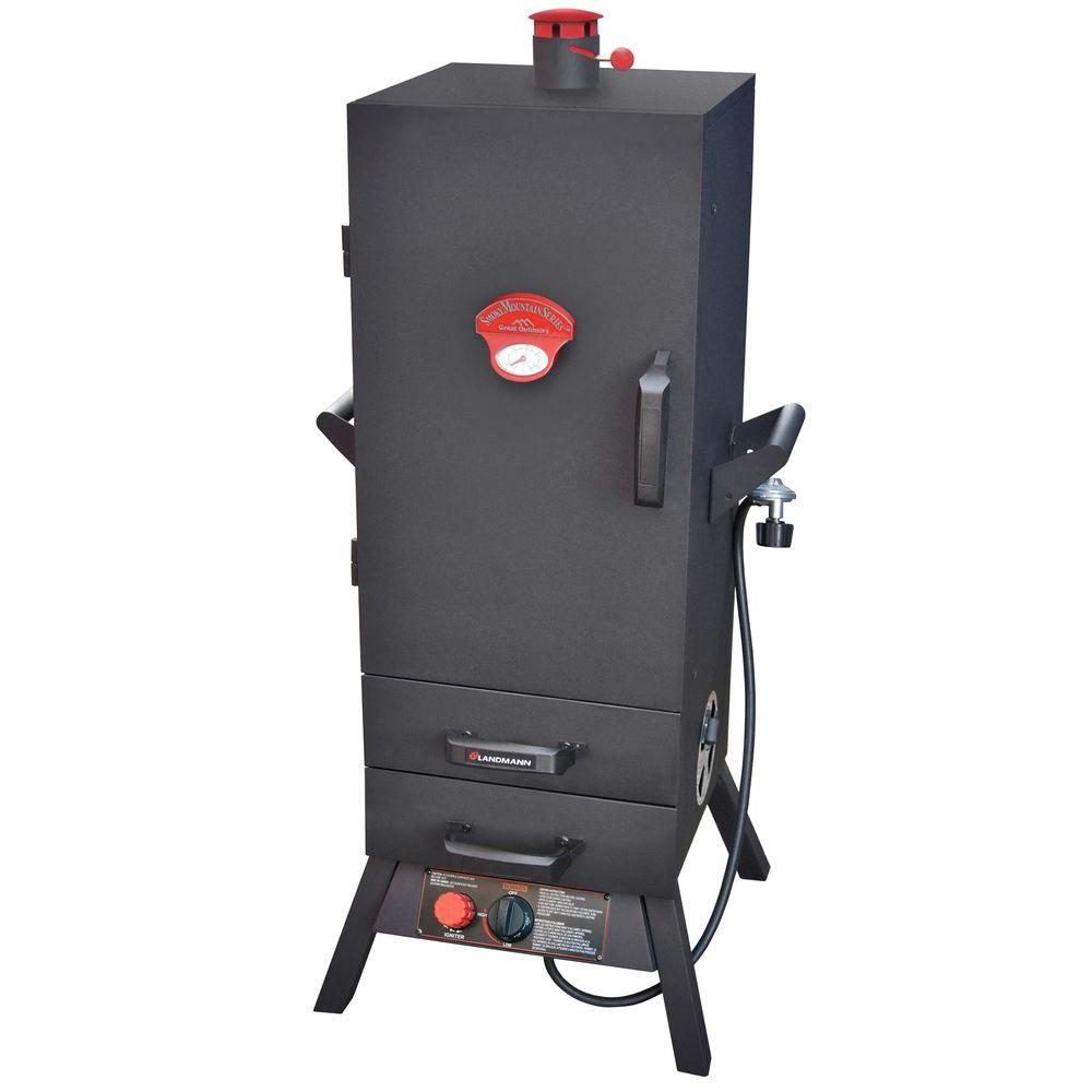 Smoky mountain 38 in vertical propane gas smoker with 2 for Acces vertical