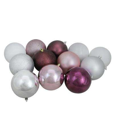 4 in. Blush Pink/Mulberry/Silver/White Shatterproof 3-Finish Christmas Ball Ornaments (12-Count)