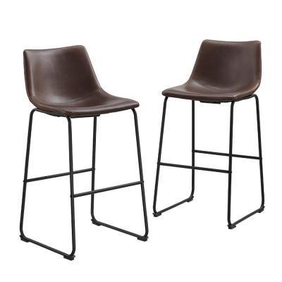 29-3/8 in. Brown Faux Leather Bar Stools (Set of 2)