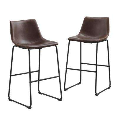 28 in. Brown Industrial Faux Leather Bar Stools (Set of 2)