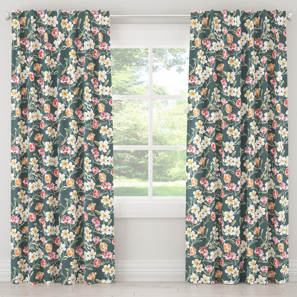 Skyline Furniture 50 in. W x 96 in. L Blackout Curtain in Summer Floral Green