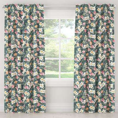 50 in. W x 120 in. L Blackout Curtain in Summer Floral Green