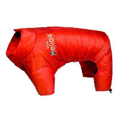 Medium Grenadine Red Thunder-Crackle Full-Body Waded-Plush Adjustable and 3M Reflective Dog Jacket