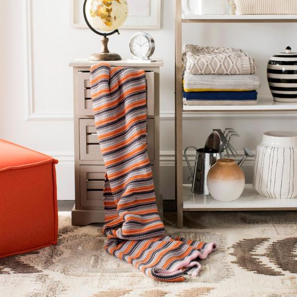Safavieh Candy Stripe Knit Multi-Color Throw THR195A-5060