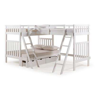 Aurora White Twin Over Full Bunk Bed with Tri-Bunk Extension and Storage Drawers