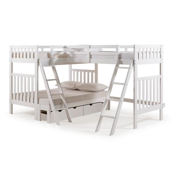 Alaterre Furniture Aurora White Twin Over Full Bunk Bed with Tri-Bunk