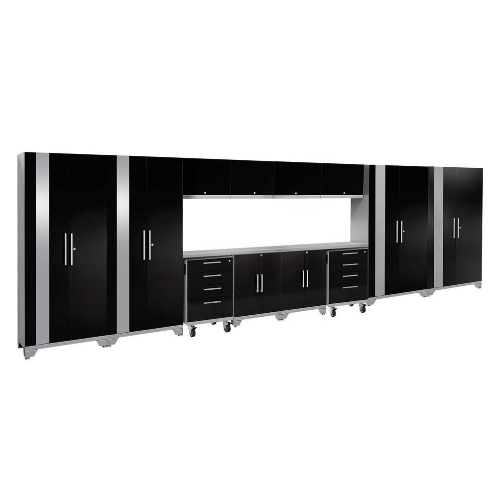 Performance 2.0 77.25 in. H x 216 in. W x 18 in. D Steel Stainless Steel Worktop Cabinet Set in Black (14-Piece)