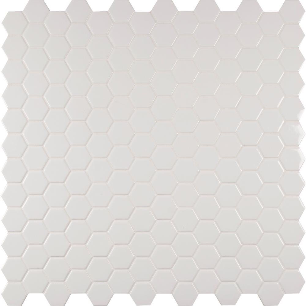 Msi Whisper White Hexagon 12 In X 12 In X 8mm Ceramic Mesh Mounted