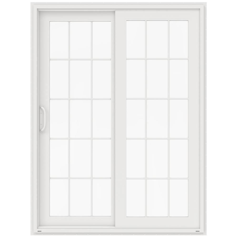Jeld wen 59 5 in x 79 5 in v 4500 white prehung left for Prehung sliding glass doors