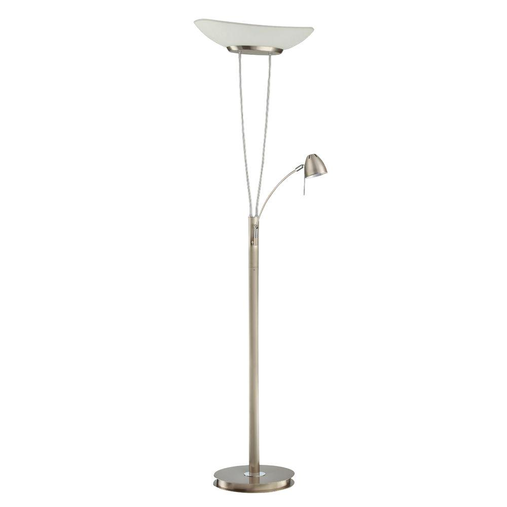 Designers Choice Collection 72 in. Satin Nickel and Chrome Floor Lamp with Reading Light-DISCONTINUED