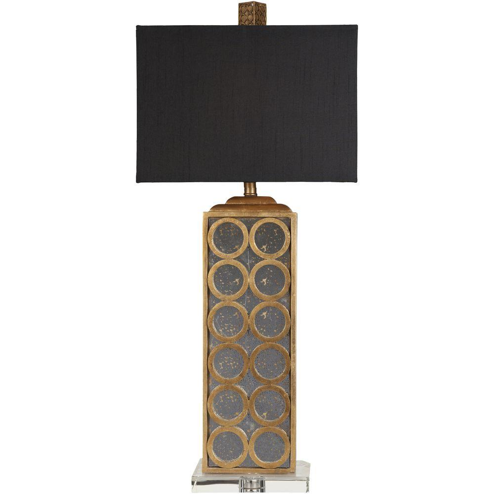 Rennes 34 in. Gold Leaf and Aged Mirror Table Lamp
