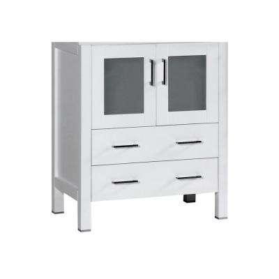 Bosconi 28.8 in. Single Vanity Cabinet Only in White Brushed Nickel Hardware