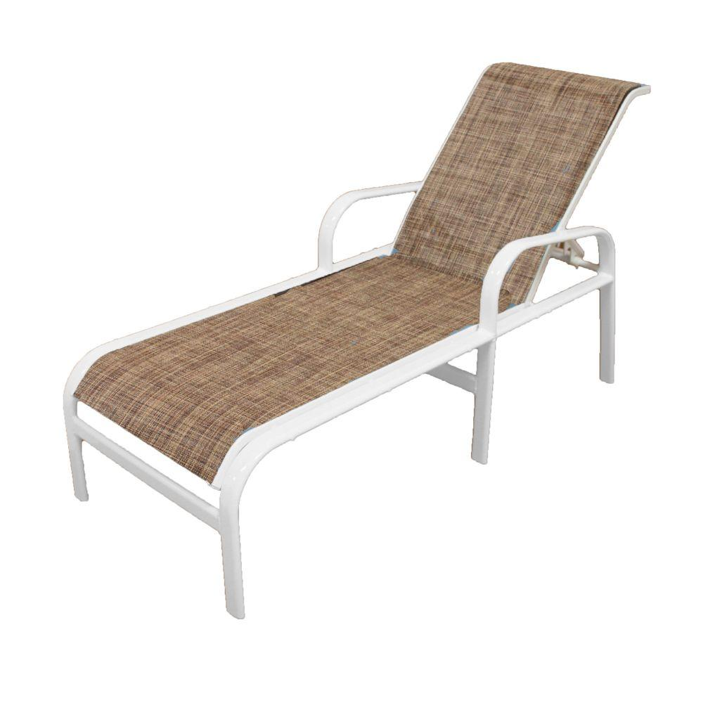 Marco Island White Commercial Grade Aluminum Outdoor Patio Chaise Lounge  With Chesterfield Sling