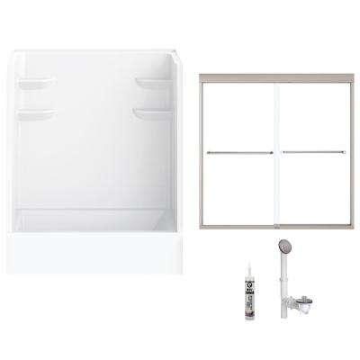 60 in. x 30 in. x 76 in. Bath and Shower Kit with Left-Hand Drain and Door in White and Brushed Nickel Hardware