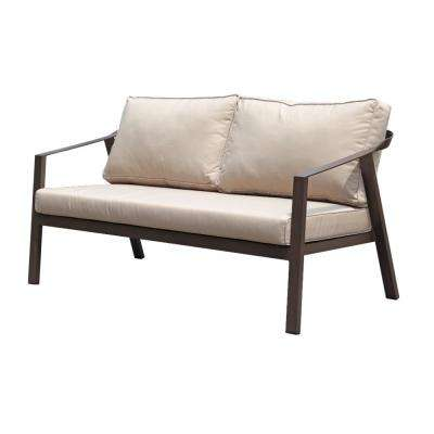 Rosehill Brown 4-Piece Aluminum Outdoor Loveseat Set with Tan Cushions