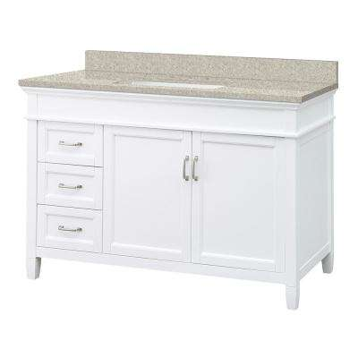 Ashburn 49 in. W x 22 in. D Vanity in White with Engineered Vanity Top in Sedona with White Sink