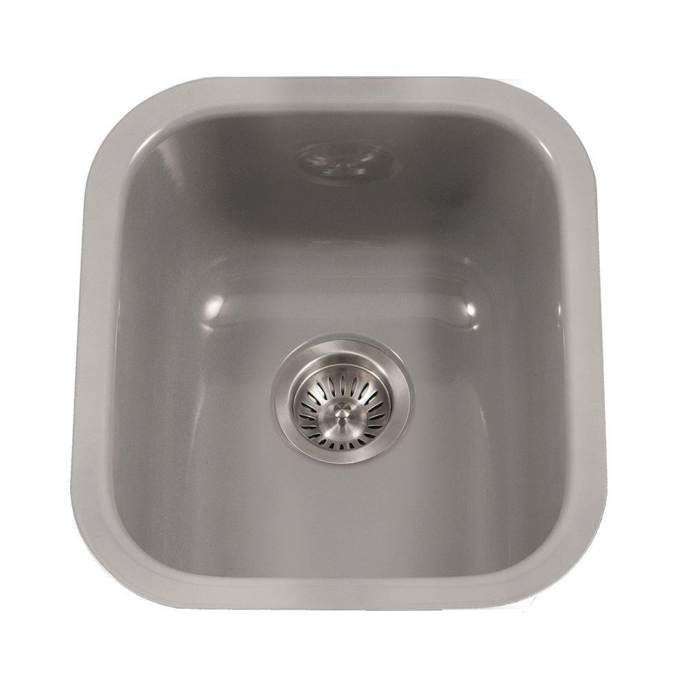 Slate Houzer PCB-1750 SL Porcela Series Porcelain Enamel Steel Undermount Bar//Prep Sink